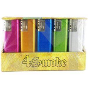 25 x 4Smoke Wind-Proof Metallic Electronic Lighter – 218WE