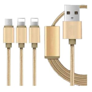 Goldplated 3IN1 iPhone and Android USB Cable