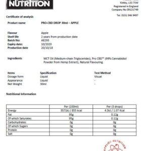 Applied Nutrition Pro CBD 500mg Oral Drops 30ml – Apple Flavour