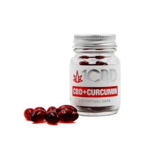 1CBD Soft Gel Capsules 25mg CBD + 10mg Curcumin 30 Capsules
