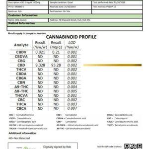 CBD Asylum 1000mg CBD E-liquid 10ml (70VG/30PG) (Buy One Get One Free)