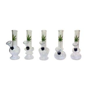 12 x 6″ Small Leaf Design Glass Bong – GB41