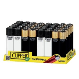 40 Clipper Classic Black & Gold Lighters