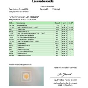 Plant Of Life 500mg CBG Crystal Powder Bulk 90% CBG