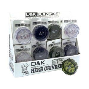 24 D&K 2 Part 60mm Plastic Herb Grinders In Display Case DK4011